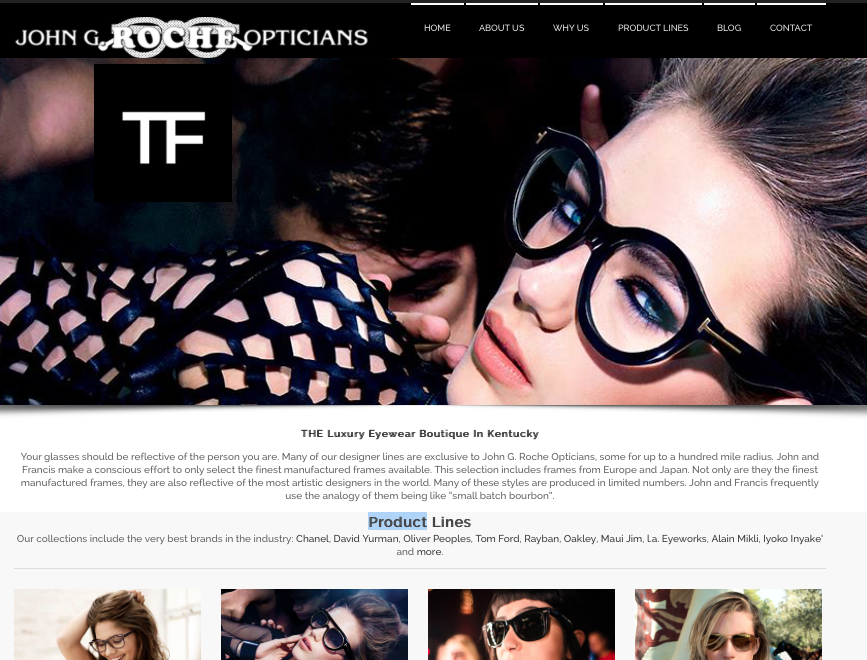 Johns Glasses Website Design by Digital Tulip