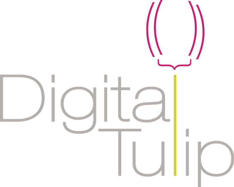 Digital Tulip logo, spelled out with a tulip image in the name.